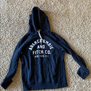 Abercrombie Navy and White Hoodie Sweatshirt